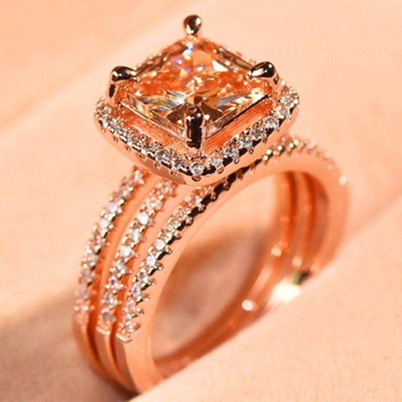 2020 Rose-Gold Cor Mulheres Anéis Set Para Mulheres moda jóias charme Pedrinhas Zircon Anéis Menina do presente