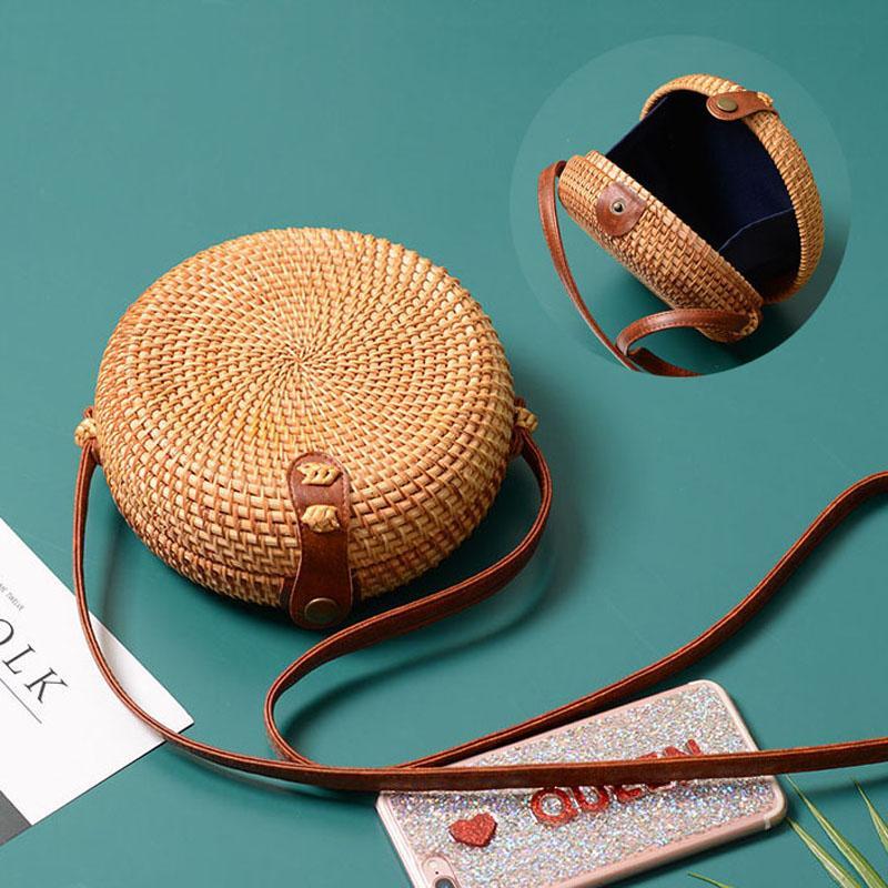 Урожай ручной женщин Rattan сумка соломы Тканые мешки плеча лук отпуск пляж Bohemia Crossbody Посланники сумки круглый болса