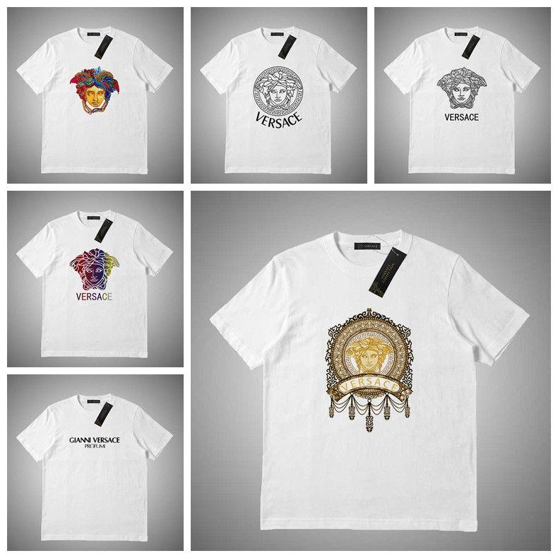 Versace Новые мужские футболки мужские женщин Престижное Письмо печати Рубашка Летняя футболка с коротким рукавом Crew Neck Top Tee # 23545