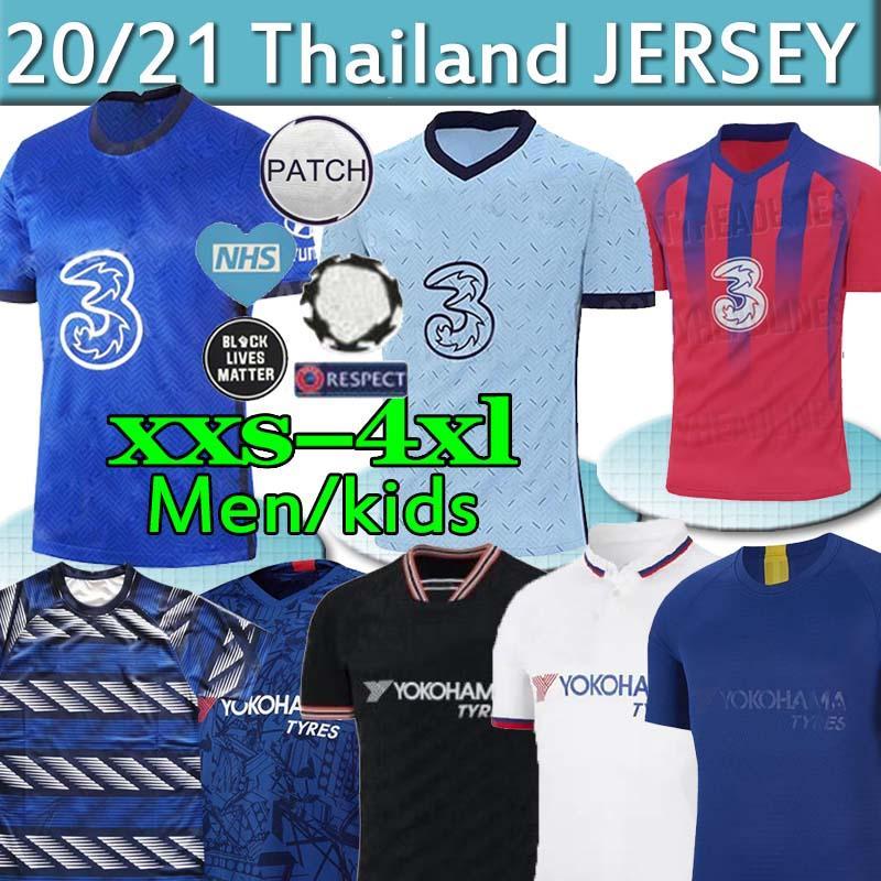 تايلاند WERNER PULISIC كانتي ABRAHAM MOUNT ZIYECH بالقميص لكرة القدم 2019 2020 2021 Camiseta دي مجموعات كرة القدم قميص الوطن away3rd SETS MEN KIDS