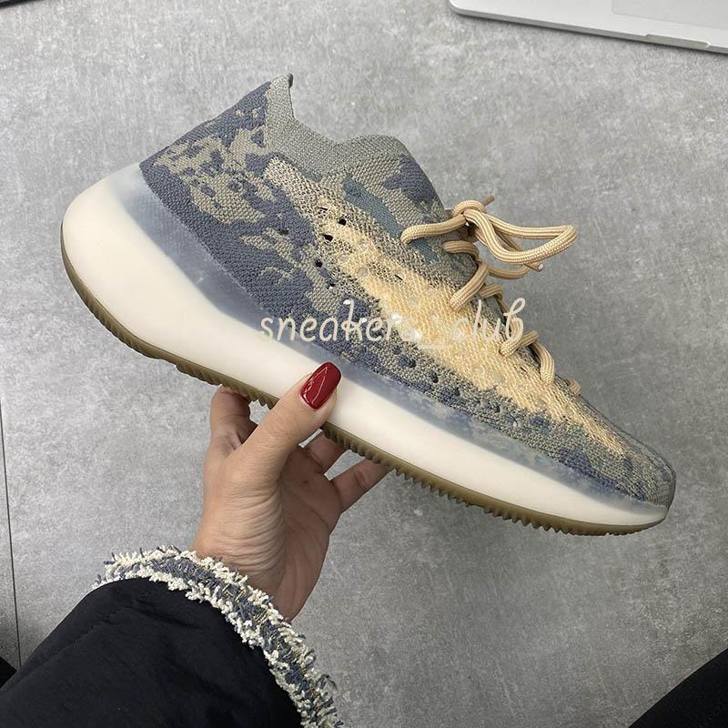 TOP Qualité 2020 Kanye West Hommes Femmes Chaussures en cours 380 v3 Mist Alien réfléchissant bleu Avoine noire réfléchissante Onyx36-45