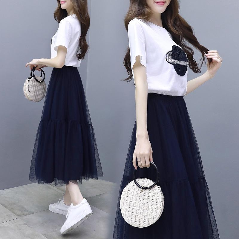 K0KZN 2020 nuova Mori due pezzi linea A- fata vestito vestito delle donne del vestito fata primavera stile Super gonna del vestito di alto profilo