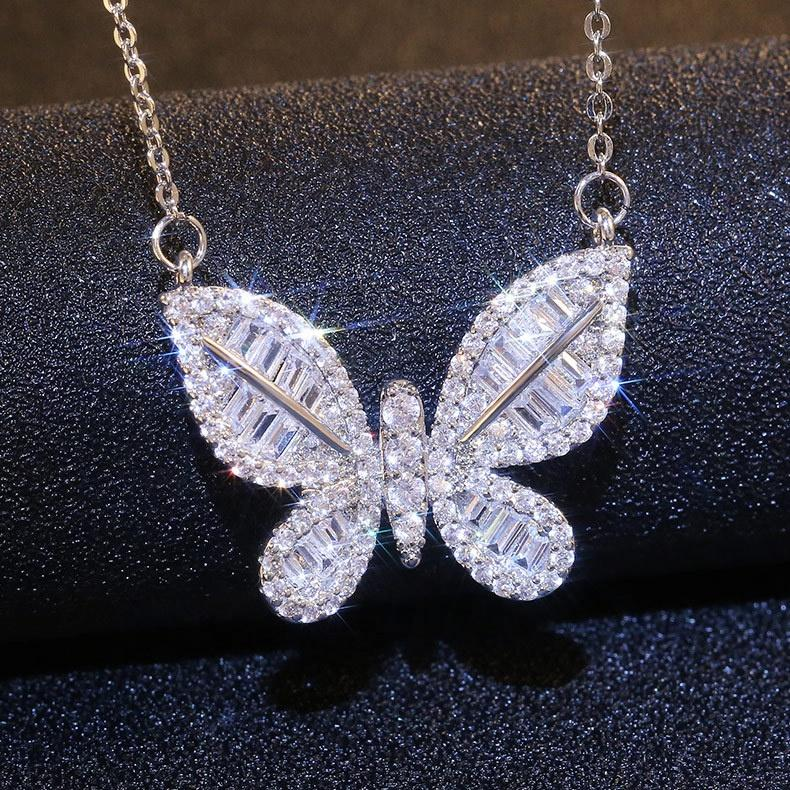 Simples Bonito Bronze Butted Butterfly Micro Inlay Aaa Cubic Zirconia Long Pingente Colar Para As Mulheres Jóias