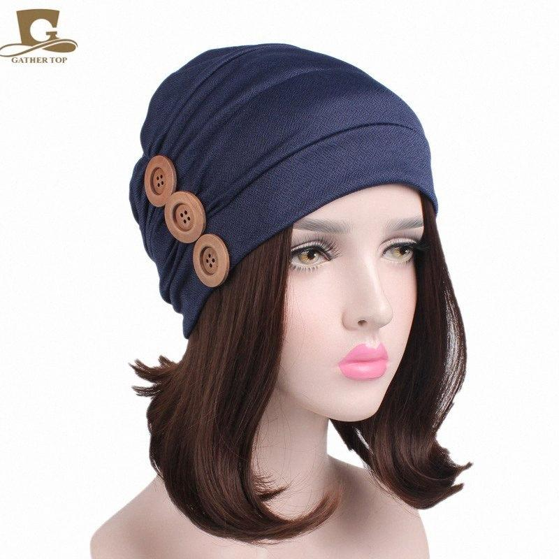 New Womens Soft Chemo Cap Sleep Turban Hat Liner For Cancer Hair Loss Three Wood Button JSr9#