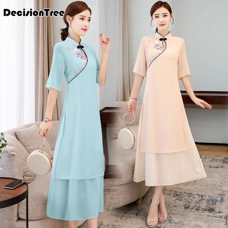 Etnik Giyim 2021 Çin Elbise Kız Stil Cheongsam Retro Qipao Seksi Kadınlar Bölünmüş Vintage Kıyafetler
