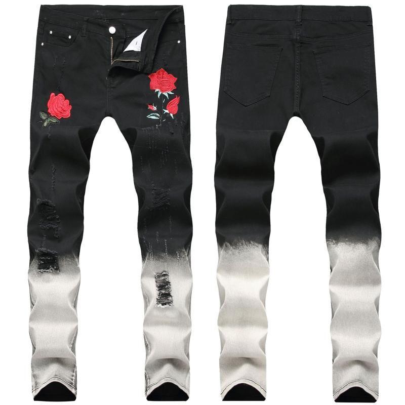 Мужские Роза Вышивка джинсы Новый стиль Черный Тощий Дырки Мужские джинсы Мода Дизайн Мужской Джинсовые брюки Straight Тонкий Байкер рваные джинсы