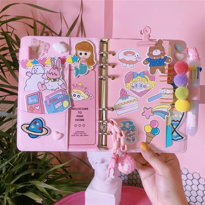 2020 rosa carino notebook Kawaii Planner in pelle Set PU regalo creativo rifornimenti di scuola ufficiale Notebook stazionario