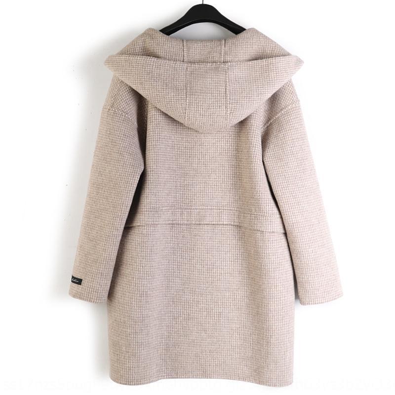 2020 nouveaux carreaux à capuchon des femmes mi-longueur 2020 laine double face Manteau woolwool à mi-longueur de la femme à carreaux manteau à capuchon double face