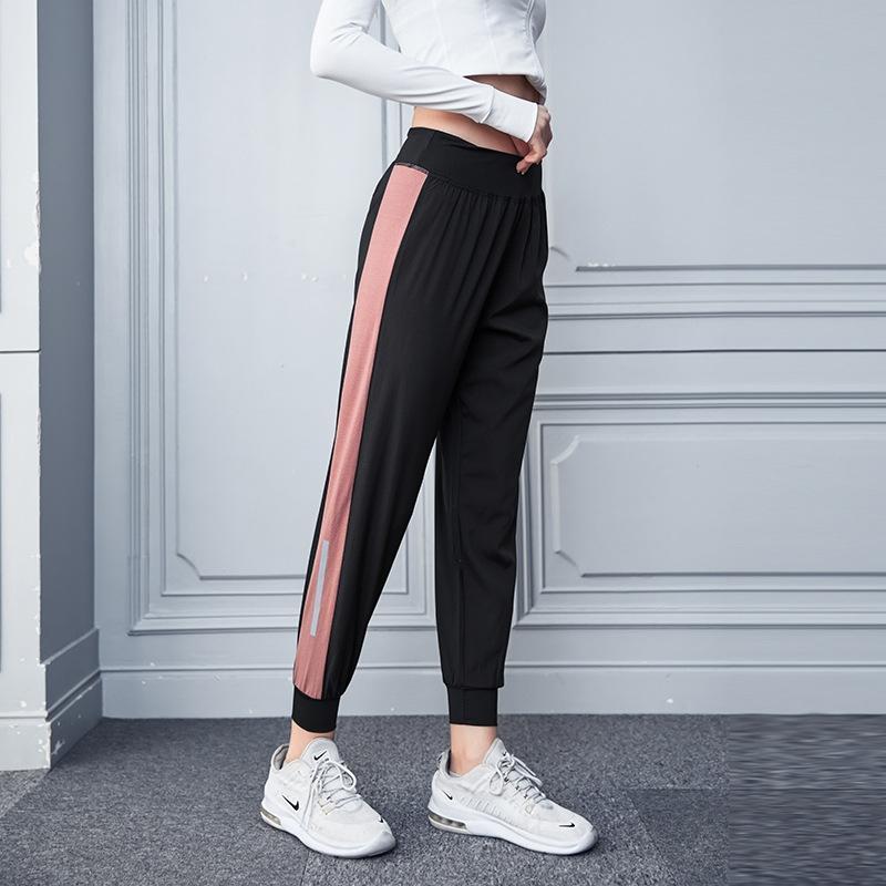 calças Primavera novas mulheres calças de yoga das mulheres da aptidão calças cor solta moda contraste Sports all-corresponder Lazer yTFH7