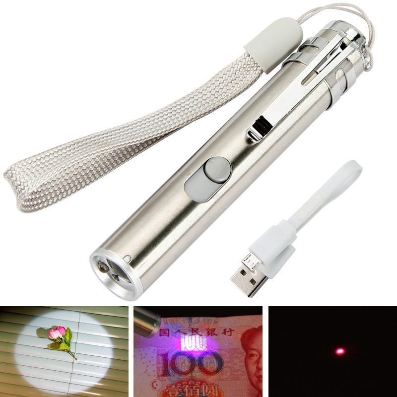 detector dinheiro quente multi-funcional três-em-um USB lua recarregável roxo Detector flash lanterna luz laser vara gato
