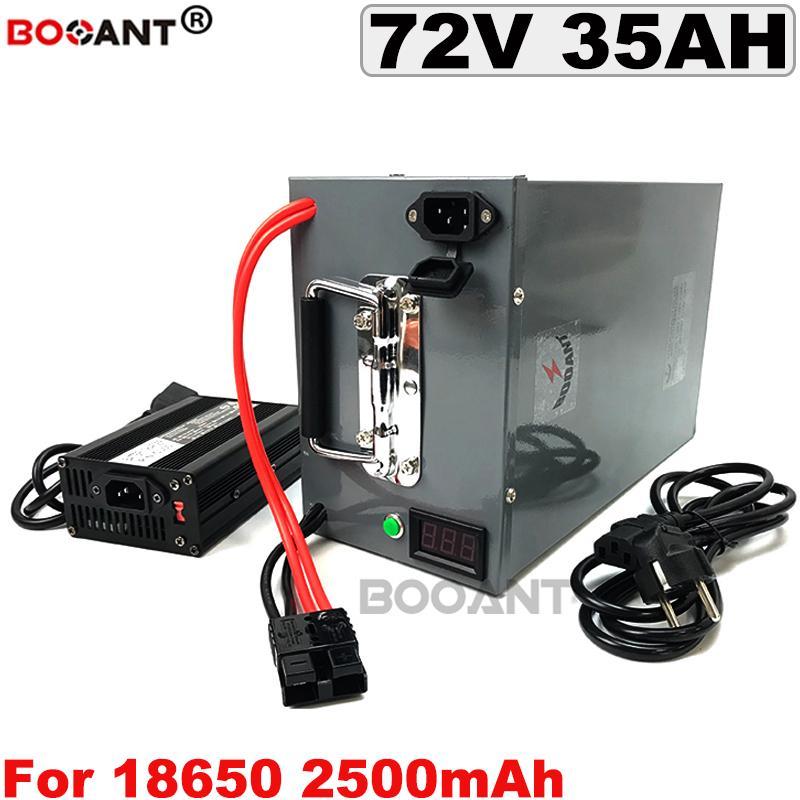 Batería de litio de 72V 35Ah para la bici Bafang BBSHD BBS02 2000W 3000W Motor eléctrico 18650 con una caja de metal + cargador 5A