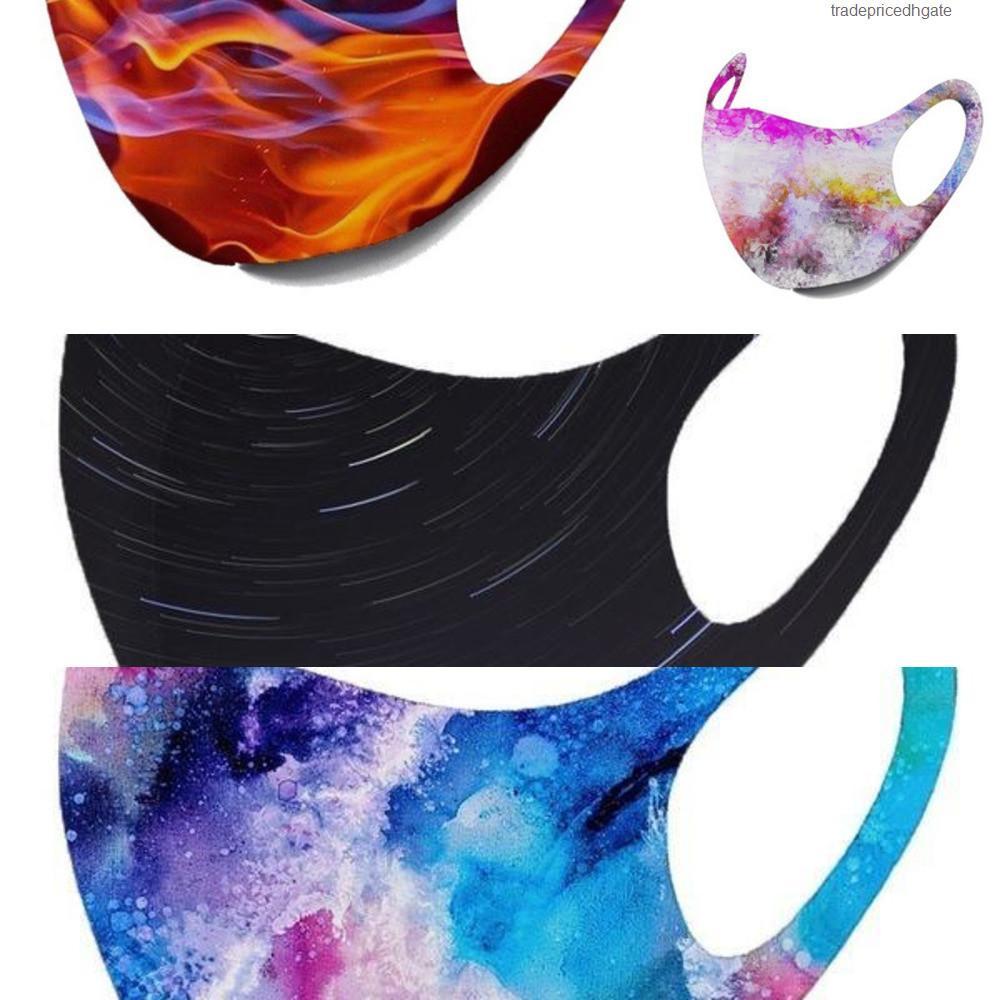 10colors anti-polvo cubierta lavable Imprimir Máscaras PM2,5 hielo del algodón de seda del cielo estrellado de Camo de la llama del oído que cuelga de la máscara 11