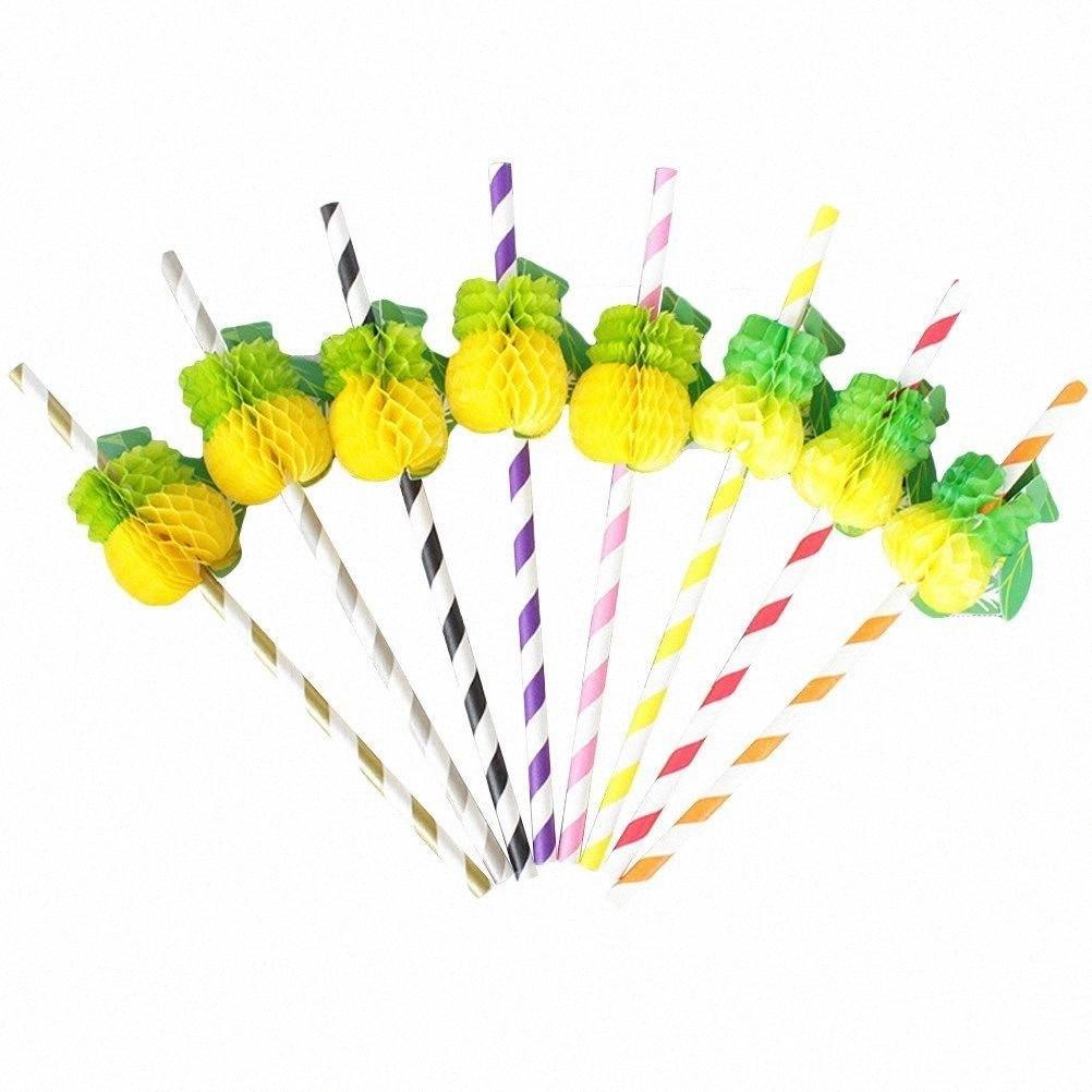 Abacaxi decorativa descartável Palhas por Party Supplies abacaxi palhas 25pcs FpvG #