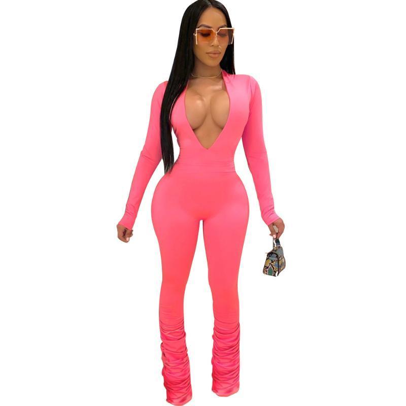 Echoine BodyCon acanalada plisado Mono Delgado mujeres apilan los pantalones del club Trajes V-cuello rasgado mamelucos Playsuit Moda 2020
