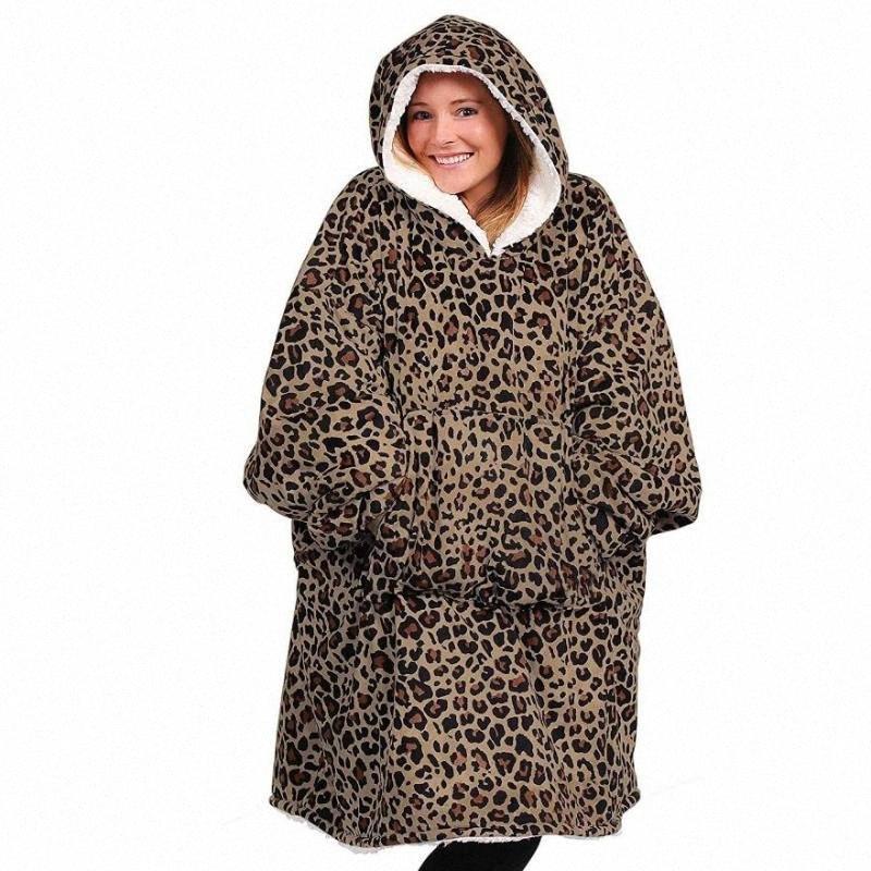 Leopard Fleece Sherpa Decke mit Ärmeln Super-Huge warmen Outdoor-Tasche Hoodie Erwachsener Winter-mit Kapuze TV Decken Sweatshirt BEKD #