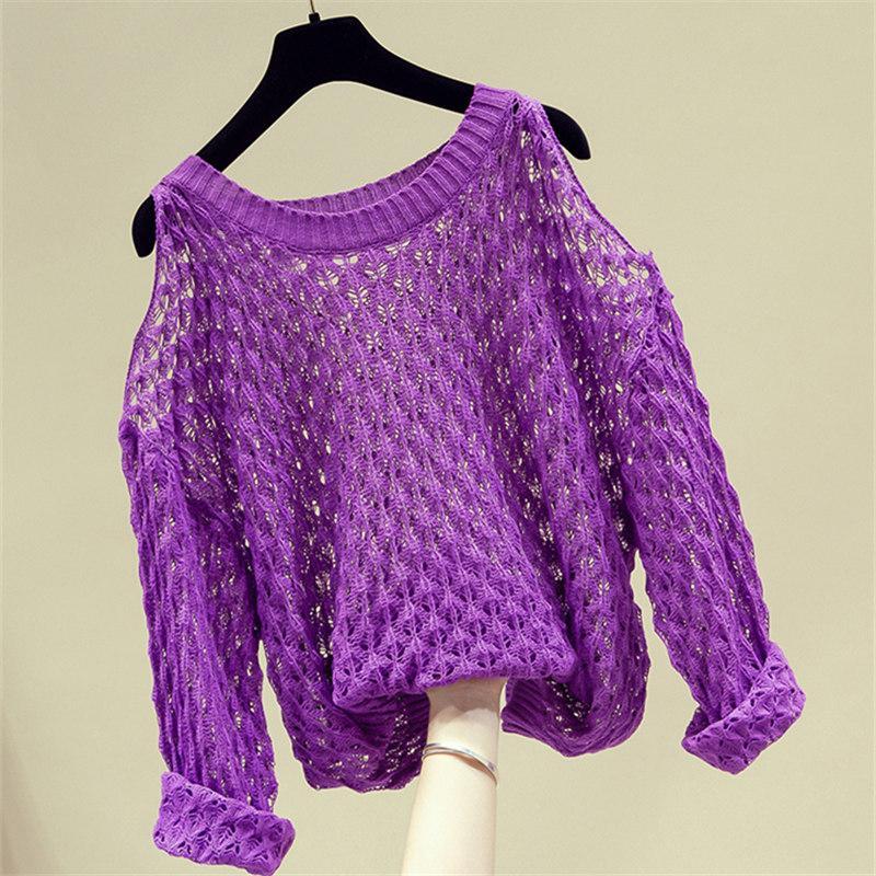 2020 Sonbahar Moda Kadınlar Straplez Uzun Kollu Katı Renk Bluz Örme Gömlek Tops Casual Lady O-Yaka Triko Gevşek Giyim