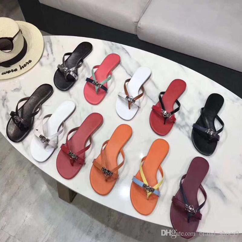 2020 HOT New Women Fashion Pearl Sandals lady Slippers Summer lock Casual Slippers Flip Flops flat sandy shoes LZ4