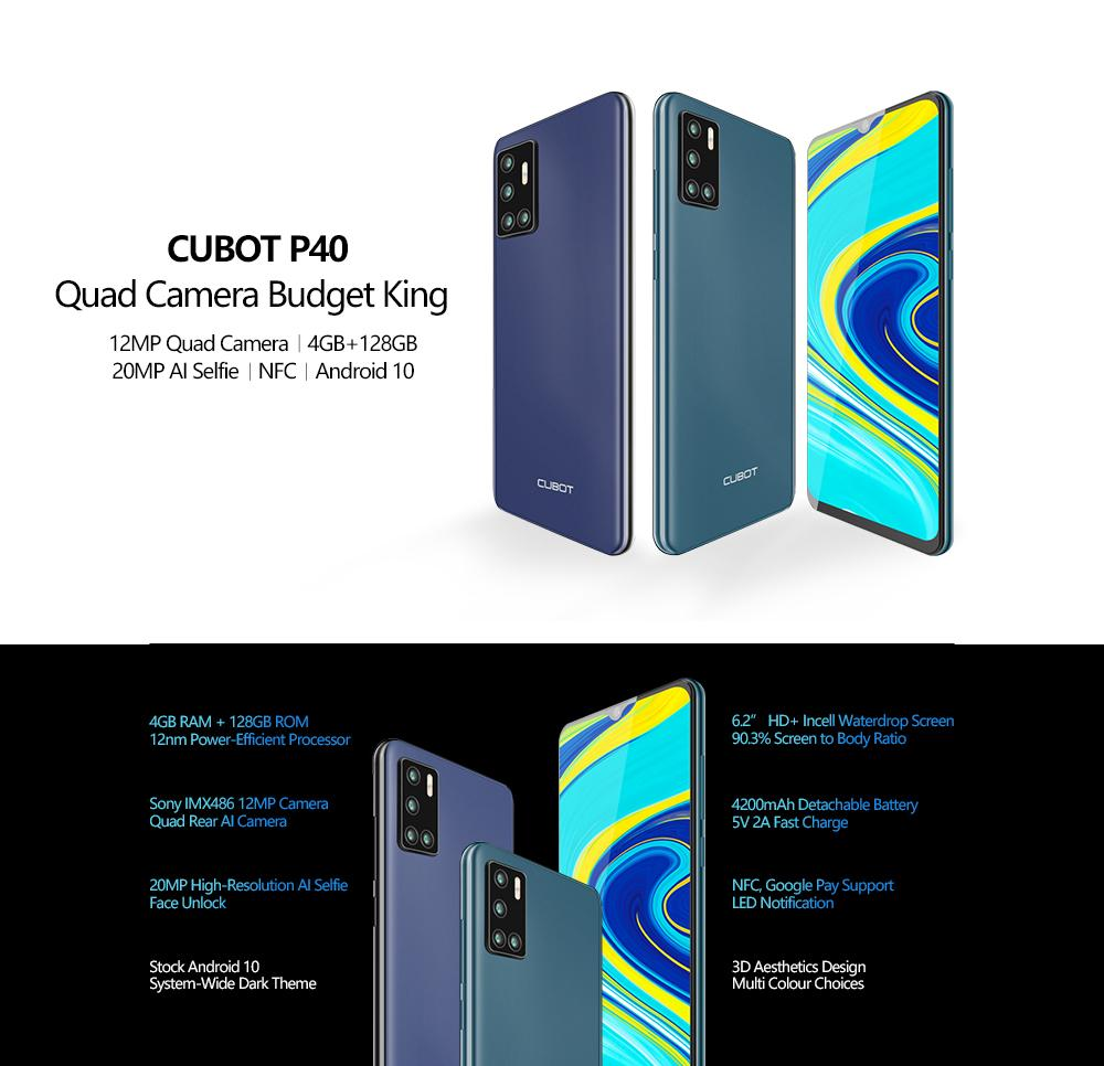 Cubot P40 4GB+128GB Rear Quad Camera 20MP Selfie Smartphone NFC 6.2 Inch 4200mAh Android 10 Dual SIM Card mobile phone 4G LTE Free DHL