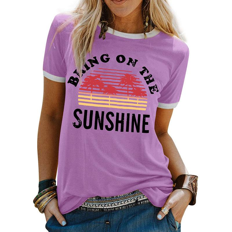 Women Cotton T Shirts Summer Ladies Short Sleeve Tops Letter Print Casual Tees Round Collar Top Female Fashion T-shirts 050720