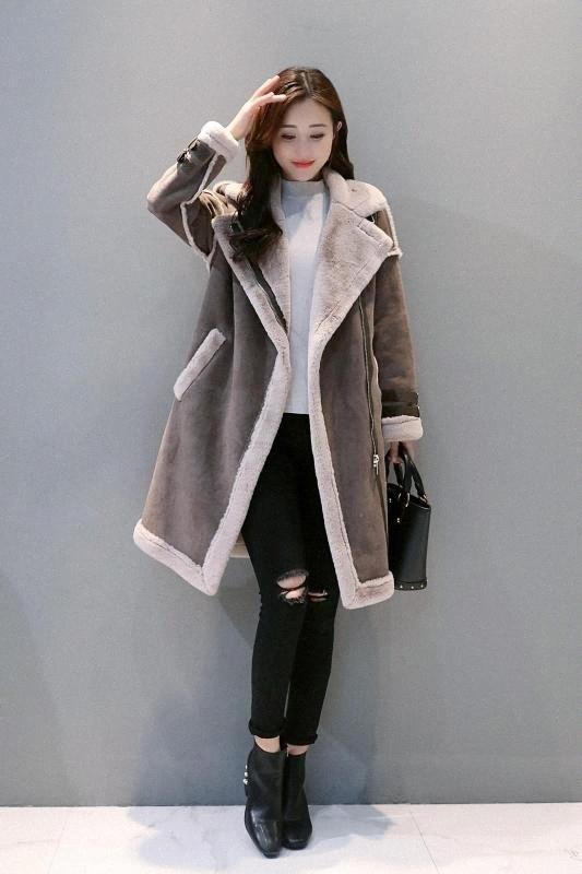 Deivor 2020 nouvelle fourrure tout en un coton moyen de veste matelassée longue de l'hiver des femmes manteau lambhair épaississement z7op # peau de daim