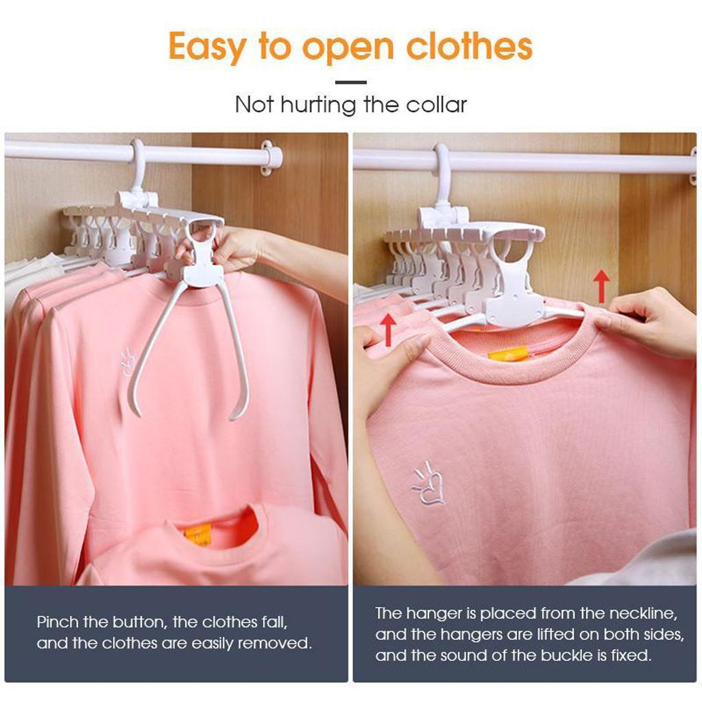 Magical Clothes Hanger Portable Laundry Rack Hook Hanger Dryer 8 Clips Folding Drying Clothes Electric Drying Rack