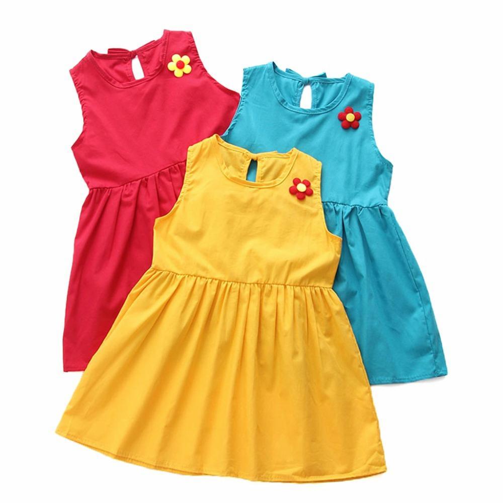 Vendita calda senza maniche ragazze Abito 1-7 anni delle ragazze di estate stampato abiti da Fiore vestiti dei bambini Cotone principessa per la ragazza
