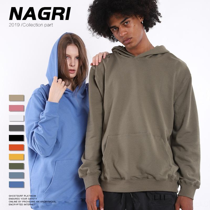 Nagri 2019 Sonbahar / Kış Yeni moda marka erkek giyim `360g düz renk yün kazak kukuletalı erkek kazak sweaterthickened