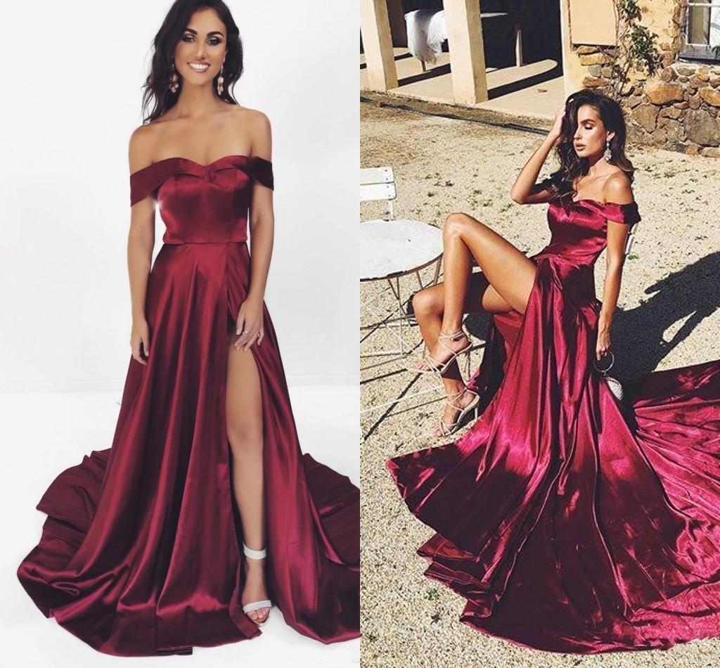 Cheap Sexy Burgundy A Line Prom Dresses Off Shoulders Satin High Side Split Long Evening Gowns Formal Dress Wear ogstuff vestidos de feista