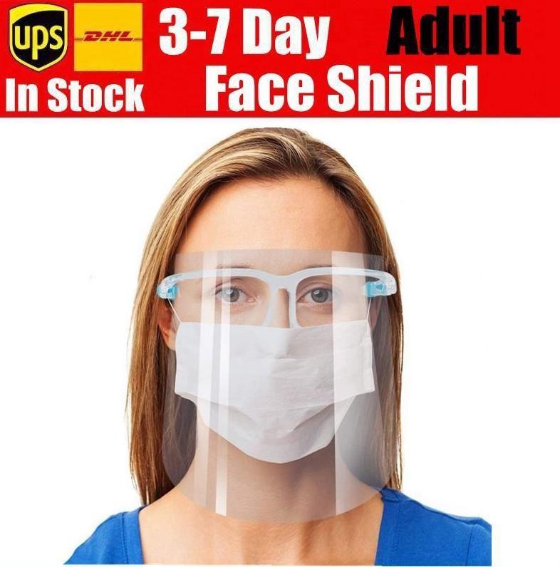 US Stock Face Shield Scudo Full Face Shield Mask Sicurezza Olio-Splash Proof Protective Pet Face Cover Trasparente Maschera di vetro viso trasparente
