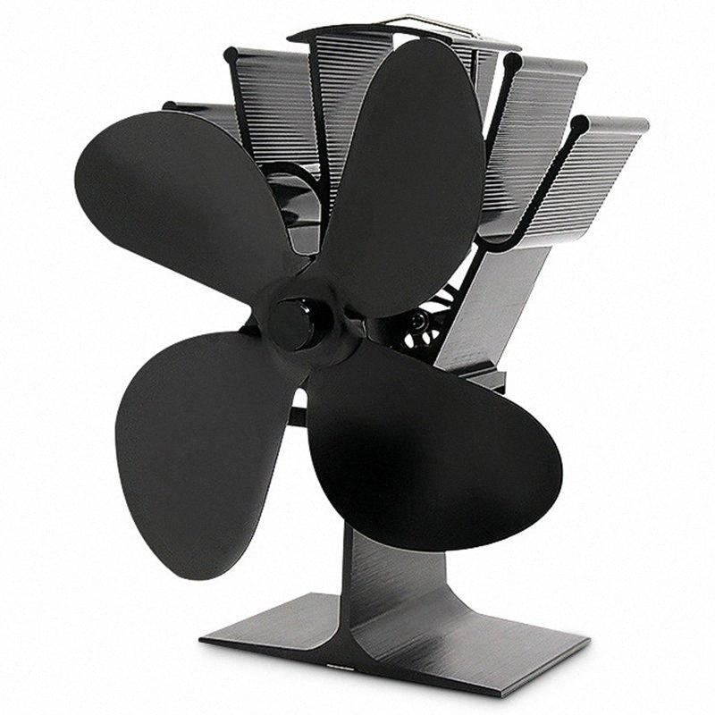 Negro Chimenea 4 Hoja estufa de calor del ventilador accionado registro de madera quemador Eco Friendly ventilador silencioso casa eficiente de calor Distribución MOQ5 #