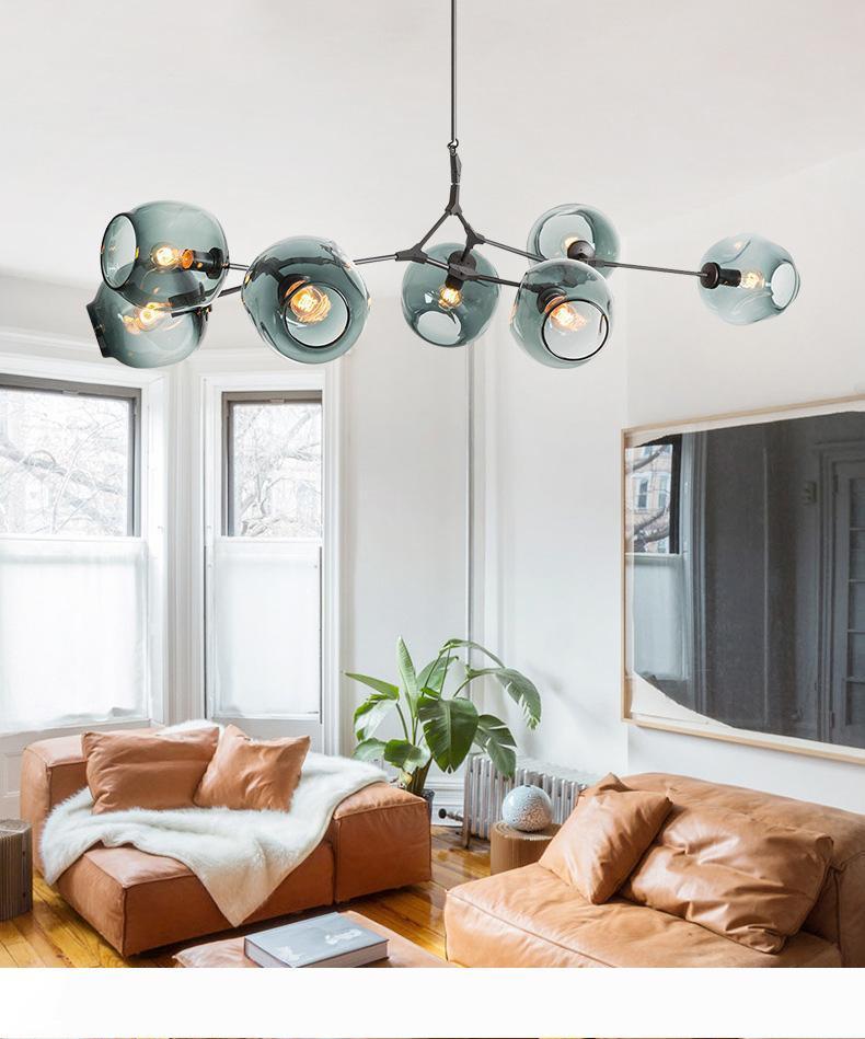 Arte Nórdica LED Lâmpadas Pingente de Vidro Lindsey Adelman Chandelier Cozinha Feijão Mágico Feijão de Árvore Suspensão Luminária de Iluminação Interior