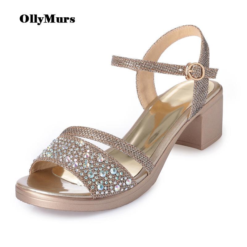 Decoración de cristal sandalias de seda del estilo de Roma del verano de 2020 mujeres sandalias para las mujeres zapatos de tacones altos de gran tamaño Femmes