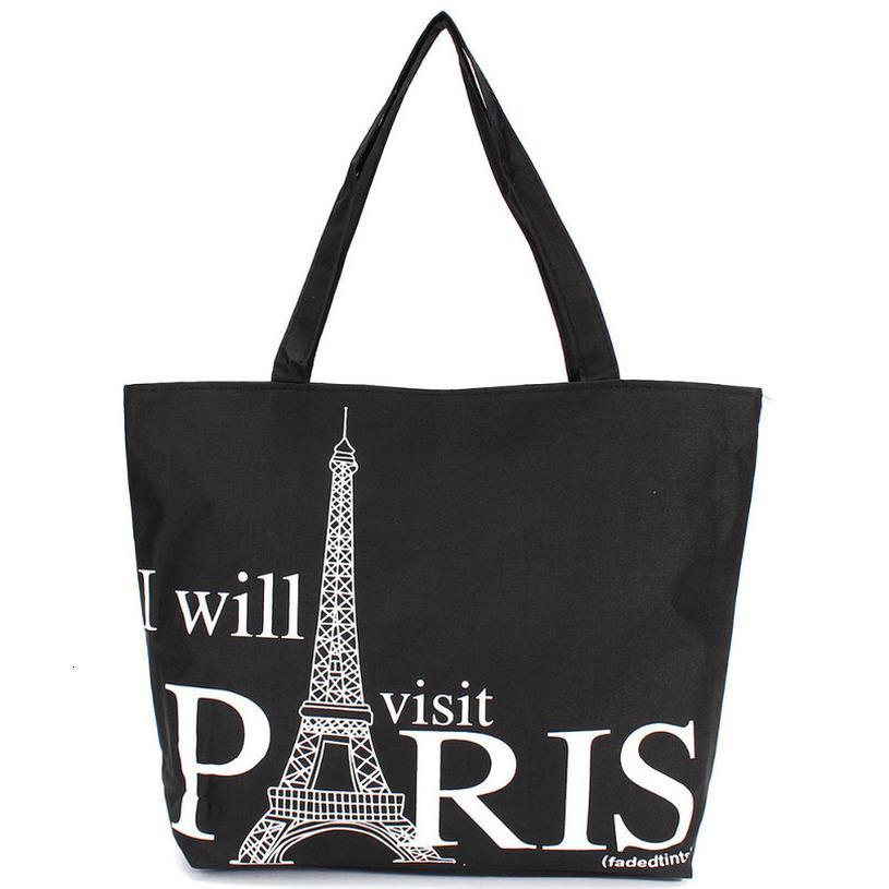 Large Space Women Canvas Handbag Plain Zipper Shopping Shoulder Bag Paris Eiffel Tower Pattern Girls Beach Bookbag Casual Tote Fashion