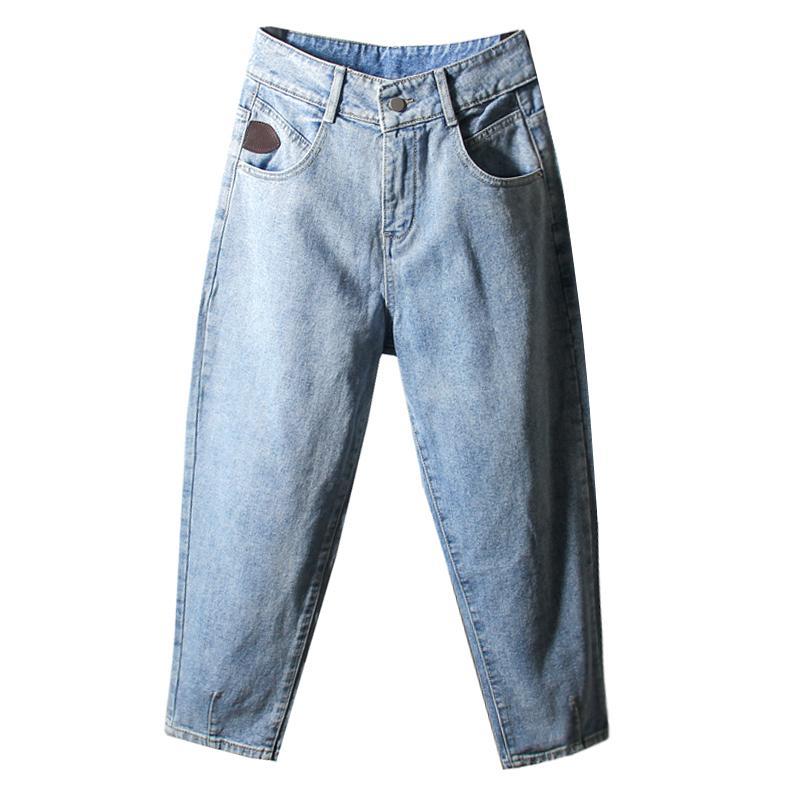 Женские джинсы 2021 женщины повседневный свободный парень пульты гастроновые джинсовые брюки дыры плюс размер высокой талии Длина лодыжки
