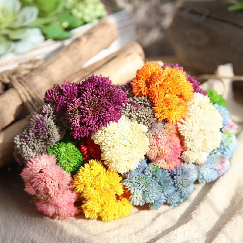 Renkli Plastik çeltik tohum meyve Bitkiler Düğün Dekoratif Çiçek bonsai Dekor peyzaj dekorasyon Yapay Sulu bitkiler