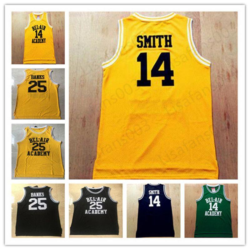 14 Уилл Смит 25 Carlton Банка Свежий принц Bel Air Academy Фильм Basketball сшитой Трикотажный черный желто-зеленый