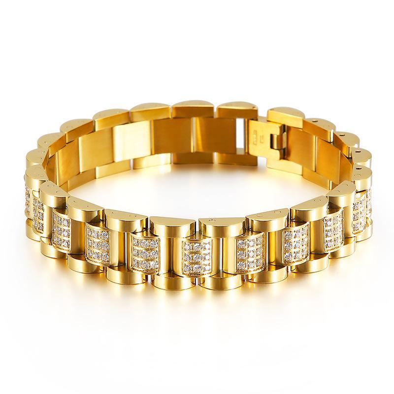 Alta Qualidade Gold Cor Watchband Chain Braceletes de Aço Inoxidável Rosa CZ Cristal Zircon Biker Link Link Braceletes Bangle Jóias para Homens Mulheres