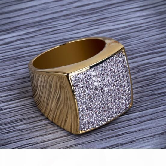 Di alta qualità monili d'avanguardia di Hip Hop della roccia all'ingrosso ghiacciato fuori l'anello in oro placcato Colore micro pavimenta le pietre della CZ anelli per gli uomini