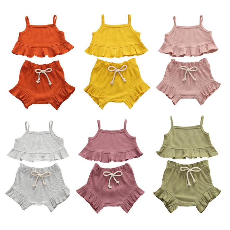 Caçoa meninas Ruffle Outfits 6 cores Sling Vest Tops infantil Criança Casual roupa do bebê Lace Elastic Shorts recém-nascido roupa do bebê Define 060803