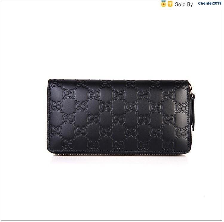 chenfei2019 1VPH Cowhide Black Zipper Wallet Black Totes Handbags Shoulder Bags Backpacks Wallets Purse