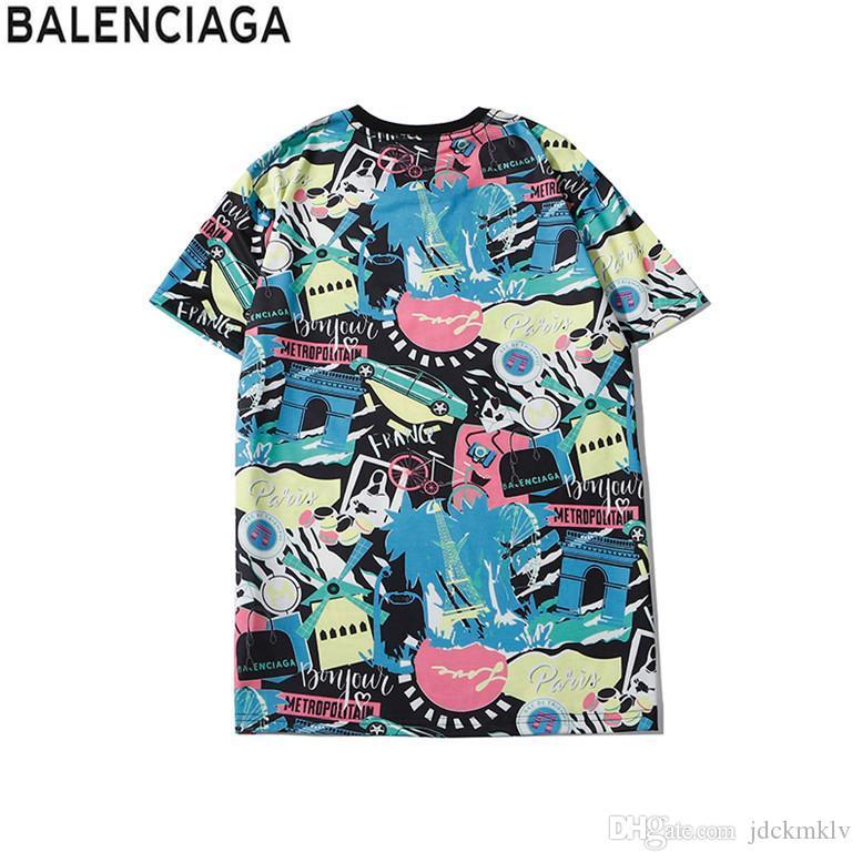 Роскошные Европа Париж вышивка Contrast лоскутное Tshirt моды Mens Англия Лондон Классический Футболка Повседневная Мужская одежда Хлопок Tee b366