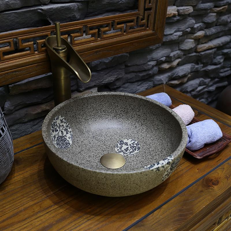 Mini Porcelain Jingdezhen cerâmica Lavatório chinês Handmade bancada Bacia pia do banheiro lavatório pequena cerâmica 30CM / 35CM