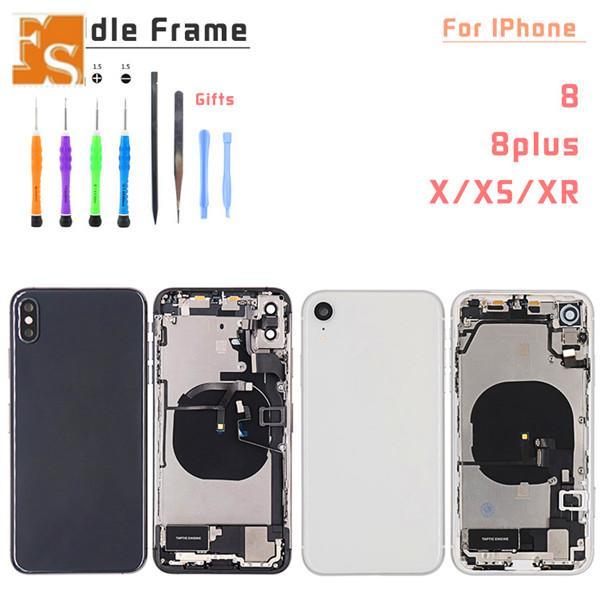 20 unids Cubiertas de piezas pequeñas completas para iPhone XR Atrás Puerta de la batería Caja de vidrio Cubierta del panel del marco Medio + Cable flexible Reemplazo del logotipo