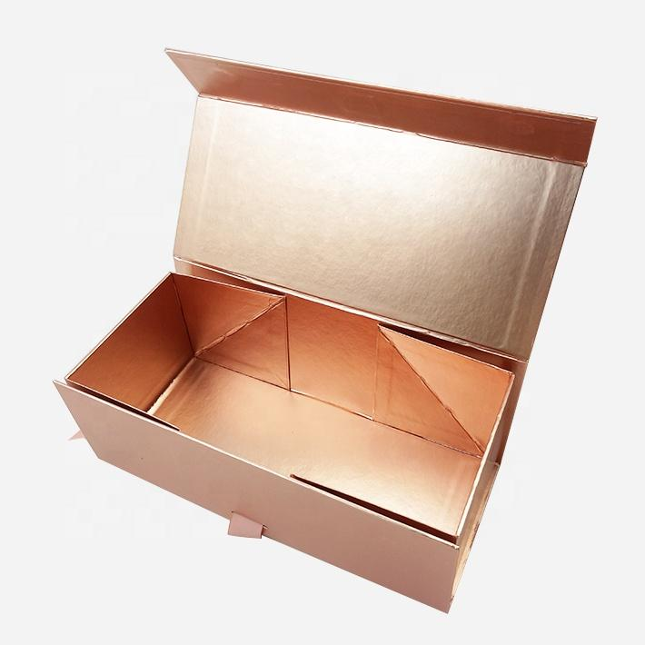 روز مخصص الذهب كرتون شقة قابلة للطي الشعر التمديد ورق تغليف هدية مربع مع الشريط