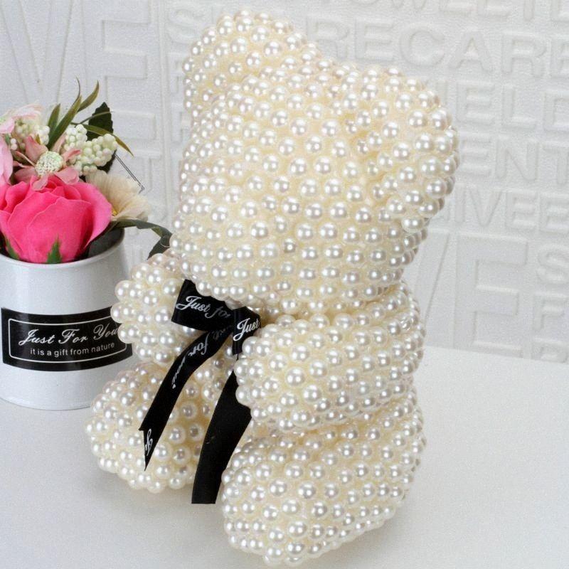 23cm 3D Foam Bär Modelling nachgemachte Perlen handgemachte Fertigkeit Geschenk Weihnachten Valentinstag Hochzeit Hauptdekoration 2LCM #