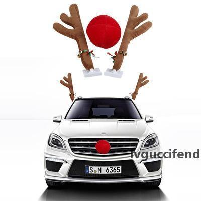 1Set Christmas Gift Reindeer Antlers and Red Nose Car Kit Christmas Fun Rudolph Reindeer Ears for All Fashion Vehicls Car Decoration 44*14cm
