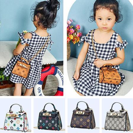 Kids PU Leather Purse Girls Designer Handbag Crossbody Chain Bags Fanny Pack Shoulder Messenger Bags Totes Children Princess Party LY8033