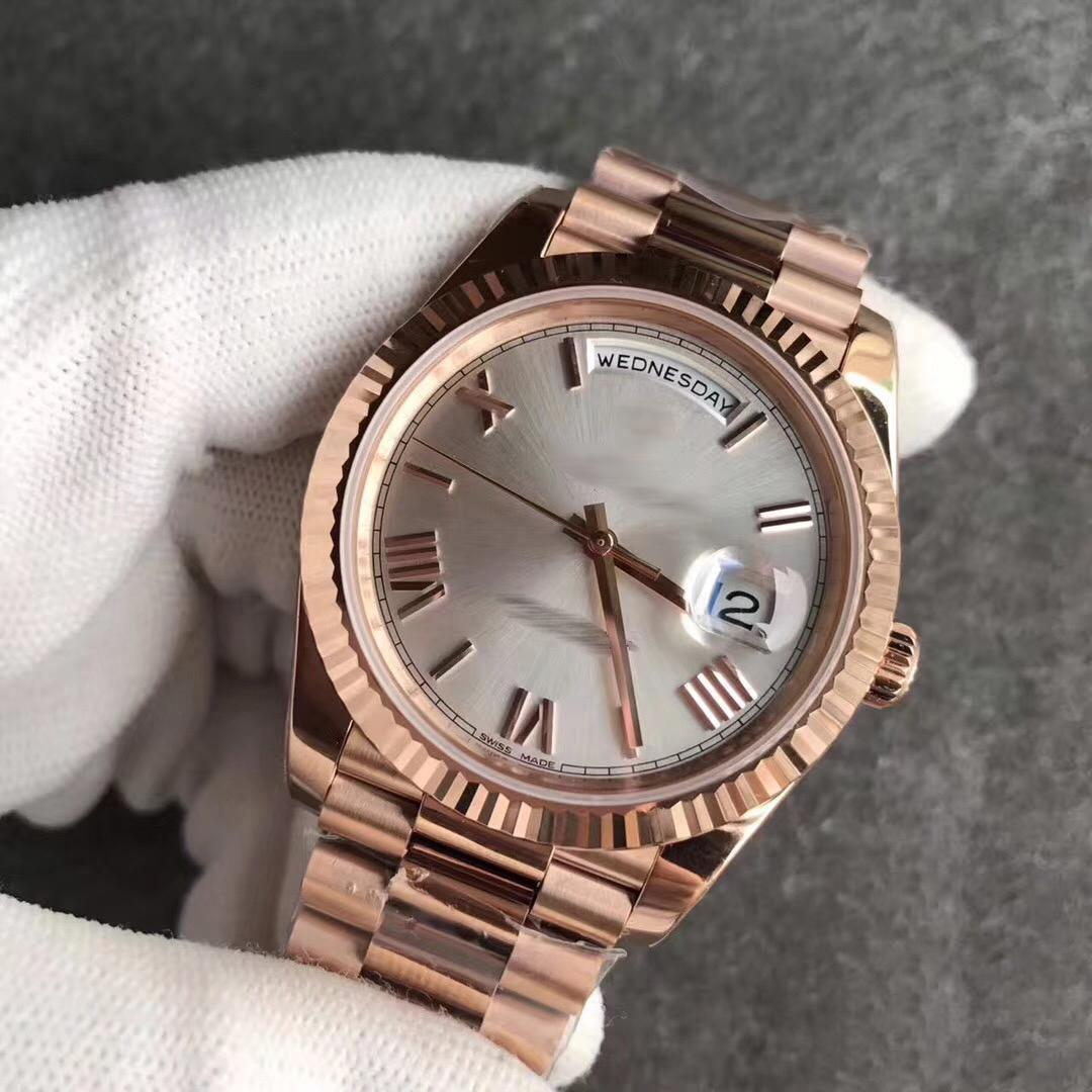 hot sale mens watch Rose Gold 18K Rose Gold original clasp Mens Watches Day White face President 116-719 Automatic Mens Watches