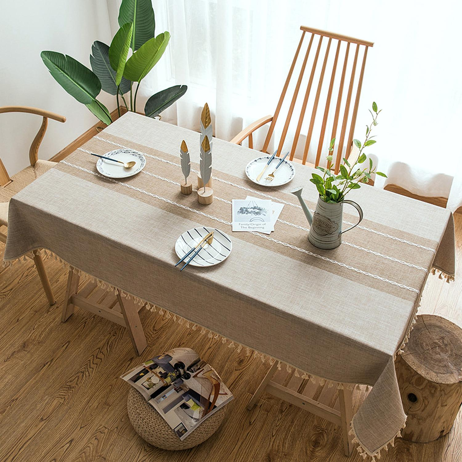 New Japan Style Linen Cotton Tassel Table Cloth Rectangular Lace Edge Tablecloth For Wedding Dustproof Table Covers Home Textile Y200421
