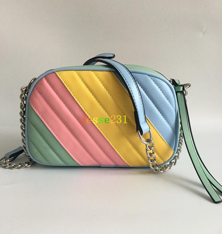 Neue Art-Frauen Handtaschen Marmont 21cm Silberkette Schultertasche Umhängetasche Soho-Tasche Disco Messenger Bag Portemonnaie 7 Farben